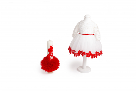 Set botez Margaret, roșu, compus din rochie, trusou și lumânare, TinTin Shop1