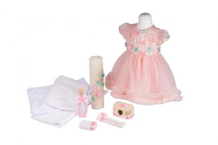 Set botez Spring basic, compus din rochie, trusou și lumânare0