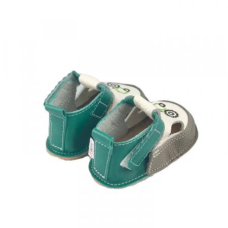 Sandale gri cu calcai verde si tractor, Macco2