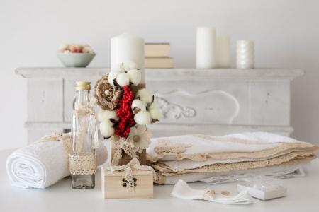 Trusou Complet de Botez cu Flori de Bumbac, Simplu, TinTin Shop