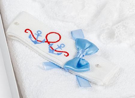 Trusou TinTin Shop, cu balena, fașă brodata, alb/albastru [1]