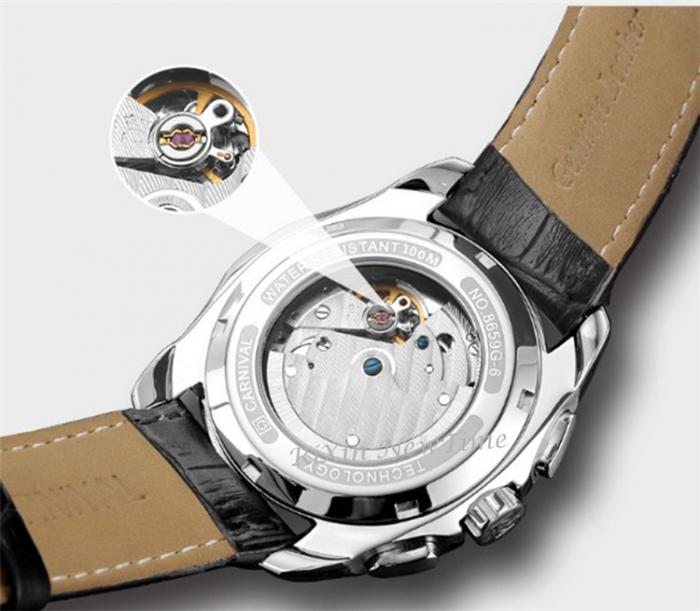 Ceas barbatesc Carnival Mecanism Mecanic Automatic Luxury Business Curea din piele [6]
