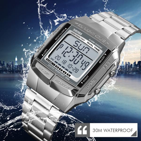 Ceas barbatesc Casual Cronograf Digital LED Alarma Otel inoxidabil 2