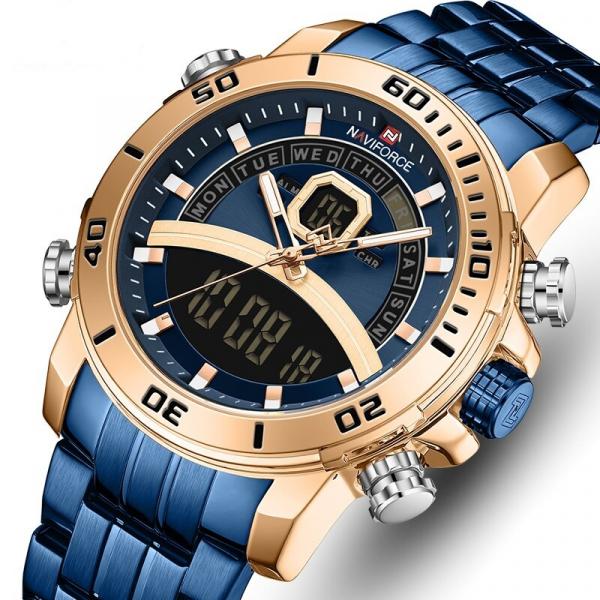 Ceas barbatesc Casual Dual Time Luxury Naviforce Cronograf Quartz Digital 0