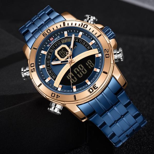 Ceas barbatesc Casual Dual Time Luxury Naviforce Cronograf Quartz Digital 3