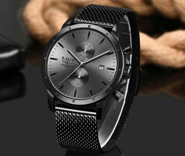 Ceas Barbatesc Cronograf Elegant Analog Quartz Otel inoxidabil 2