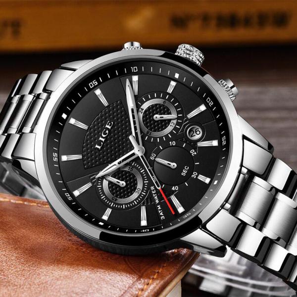 Ceas barbatesc Cronograf Quartz Otel inoxidabil Business Elegant 4