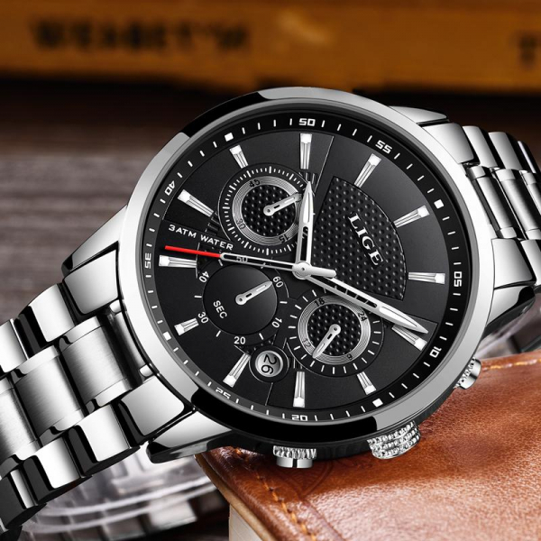 Ceas barbatesc Cronograf Quartz Otel inoxidabil Business Elegant 5