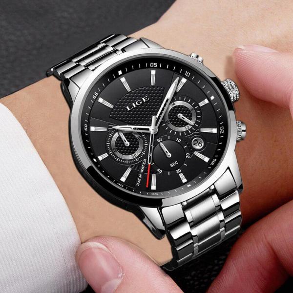 Ceas barbatesc Cronograf Quartz Otel inoxidabil Business Elegant 2