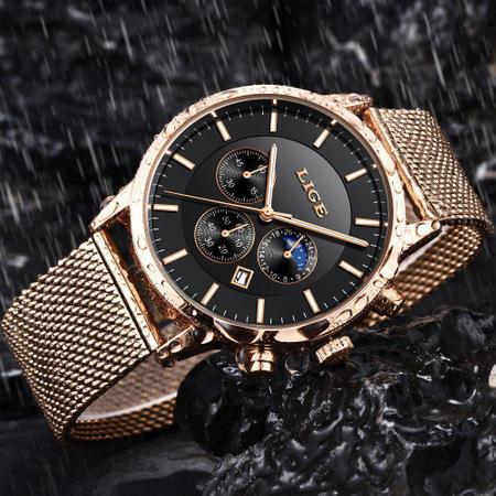 Ceas barbatesc, Lige, Elegant, Luxury, Business, Mecanism Quartz, Cronograf, Otel inoxidabil [5]