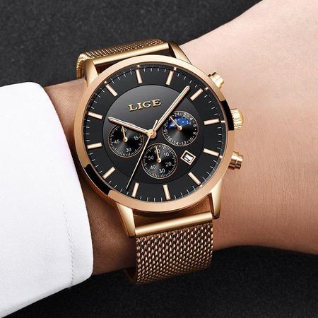 Ceas barbatesc, Lige, Elegant, Luxury, Business, Mecanism Quartz, Cronograf, Otel inoxidabil 6