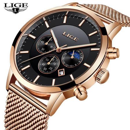 Ceas barbatesc, Lige, Elegant, Luxury, Business, Mecanism Quartz, Cronograf, Otel inoxidabil 2