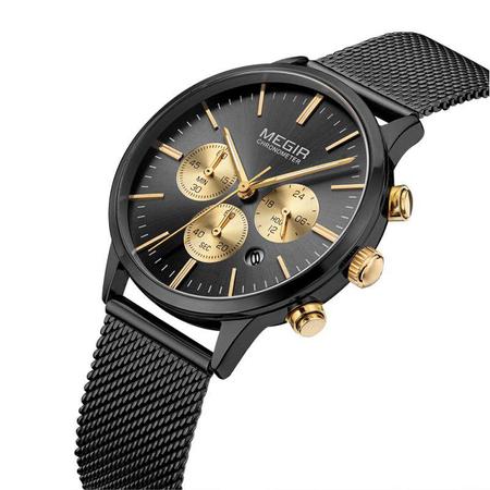Ceas barbatesc, Megir, Mecanism Quartz, Afisaj Analog, Clasic, Fashion, Elegant, Cronograf 2