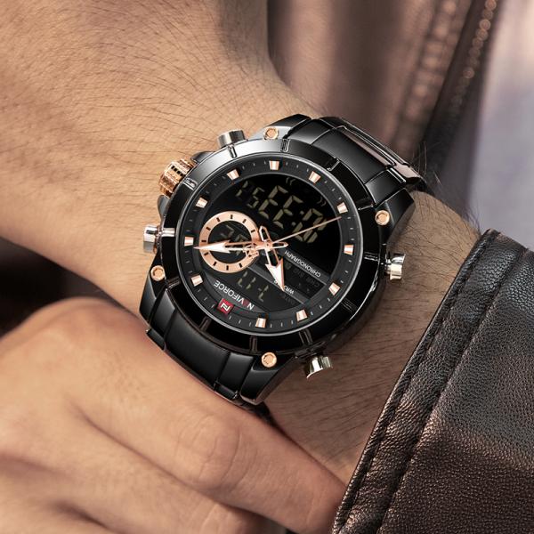 Ceas barbatesc Naviforce, Cronograf, Dual time, Quartz, Digital 1