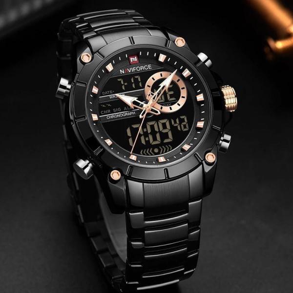 Ceas barbatesc Naviforce, Cronograf, Dual time, Quartz, Digital 2