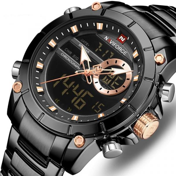 Ceas barbatesc Naviforce, Cronograf, Dual time, Quartz, Digital 0