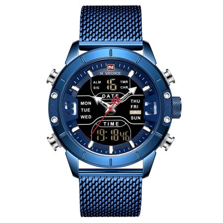 Ceas barbatesc, NaviForce, Dual Time, Digital, Elegant, Business Analog, Mecanism Quartz, Cronometru, Calendar [1]