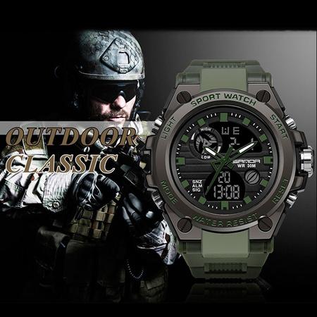 Ceas barbatesc, Sanda, Militar, Dual-time, SHOCK Resistant, Mecanism Quartz, Analog, Digital, Casual, Sport, Cronometru, Alarma, Army Green 3