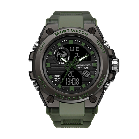 Ceas barbatesc, Sanda, Militar, Dual-time, SHOCK Resistant, Mecanism Quartz, Analog, Digital, Casual, Sport, Cronometru, Alarma, Army Green 0