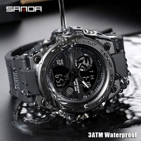 Ceas barbatesc, Sanda, SHOCK, Mecanism Quartz Japonez, Analog, Dual Time, Digital, Casual, Sport, Cronometru, Alarma 2