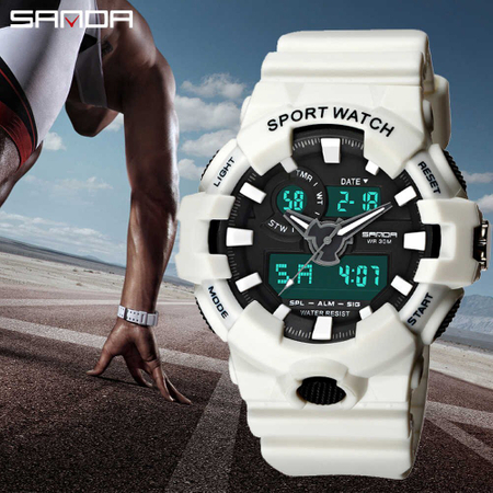 Ceas barbatesc, Sanda, Sport, Shock Resistant, Digital, Dual Time, Quartz, Alarma, Cronometru, Led 2