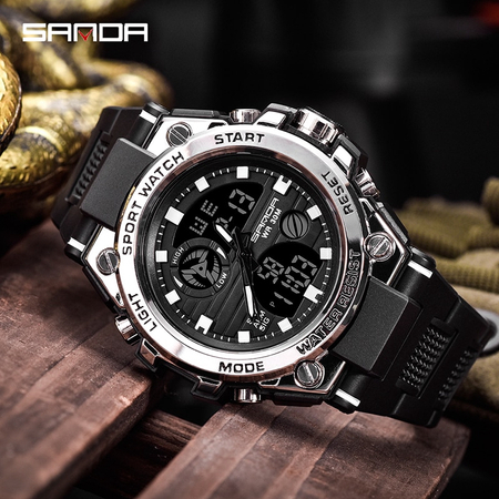 Ceas barbatesc, Sanda, Sport, SHOCK Resistant, Dual time, Analog, Digital, Casual, Cronometru, Alarma 4