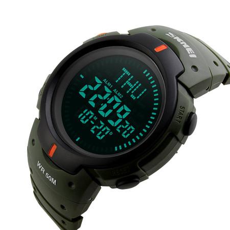 Ceas barbatesc Skmei, Busola, Compass, Ora Globala, 3 alarme, Cronometru, Cronometru invers 5