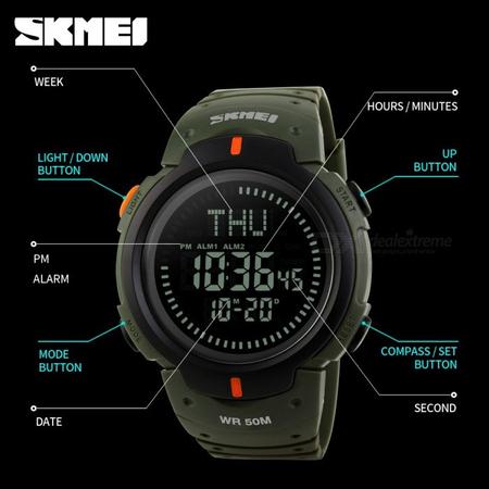 Ceas barbatesc Skmei, Busola, Compass, Ora Globala, 3 alarme, Cronometru, Cronometru invers 4