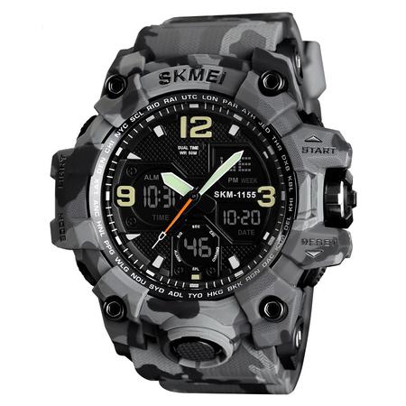 Ceas barbatesc Skmei, Digital, Camuflaj, Army, Shock Resistant, Militar, Sport, Dual time, Cronograf [3]