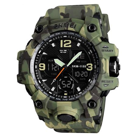 Ceas barbatesc Skmei, Digital, Sport, Army Camuflaj, Shock Resistant, Militar, Army, Dual time, Cronograf 0