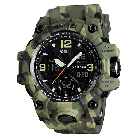 Ceas barbatesc Skmei, Digital, Sport, Army Camuflaj, Shock Resistant, Militar, Army, Dual time, Cronograf 1