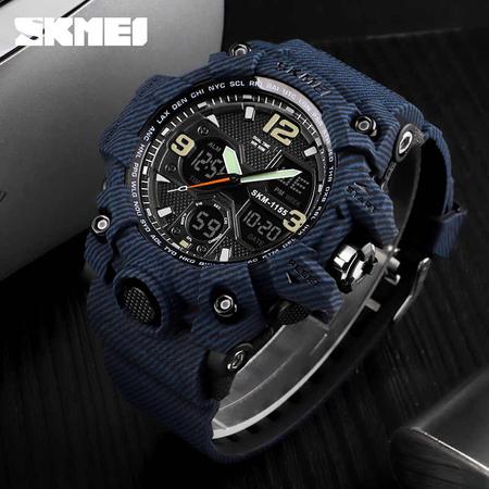 Ceas barbatesc Skmei, Militar, Shock Resistant, Digital, Sport, Army, Dual time, Cronograf 5