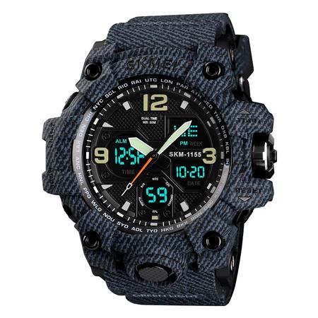 Ceas barbatesc Skmei, Militar, Shock Resistant, Digital, Sport, Army, Dual time, Cronograf 2