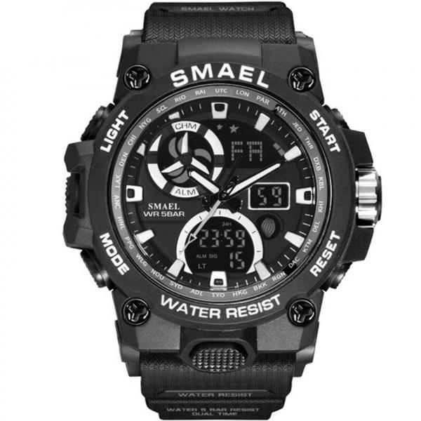 Ceas barbatesc Smael 8011. Miltar, Dual time, Cronograf, Digital, Rezistent la apa si socuri 0