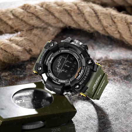 Ceas barbatesc Smael Army Green , Shock resistant, Sport, Militar, Digital, Dual Time, Cronograf 6