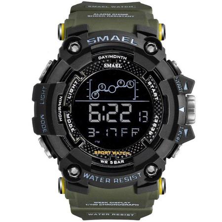 Ceas barbatesc Smael Army Green , Shock resistant, Sport, Militar, Digital, Dual Time, Cronograf 0