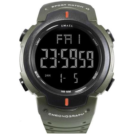 Ceas barbatesc Smael, Cronograf, Militar, Sport, Digital, Electronic, Lumina fundal, Poliuretan 0