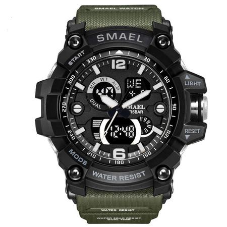 Ceas barbatesc Smael, Dual time, Army Green, Militar, Sport, Alarma, Calendar, Cronometru 0