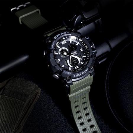 Ceas barbatesc Smael, Dual time, Army Green, Militar, Sport, Alarma, Calendar, Cronometru 2