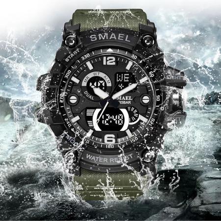 Ceas barbatesc Smael, Dual time, Army Green, Militar, Sport, Alarma, Calendar, Cronometru 8
