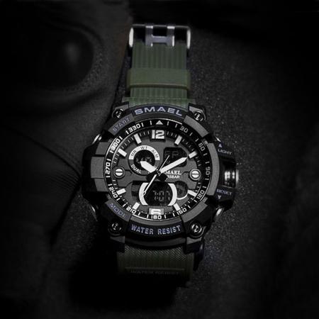 Ceas barbatesc Smael, Dual time, Army Green, Militar, Sport, Alarma, Calendar, Cronometru 5