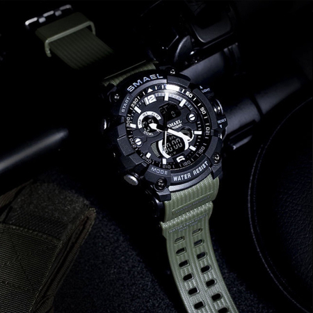 Ceas barbatesc Smael, Dual time, Army Green, Militar, Sport, Alarma, Calendar, Cronometru 7