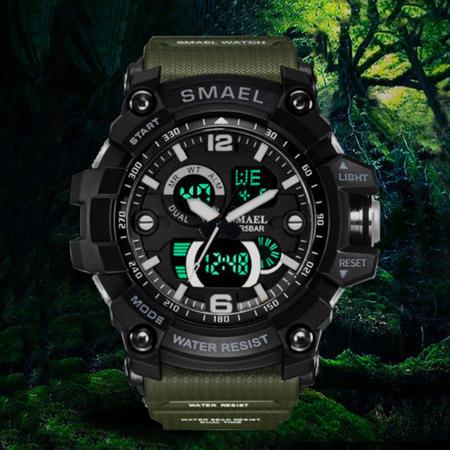 Ceas barbatesc Smael, Dual time, Army Green, Militar, Sport, Alarma, Calendar, Cronometru 4