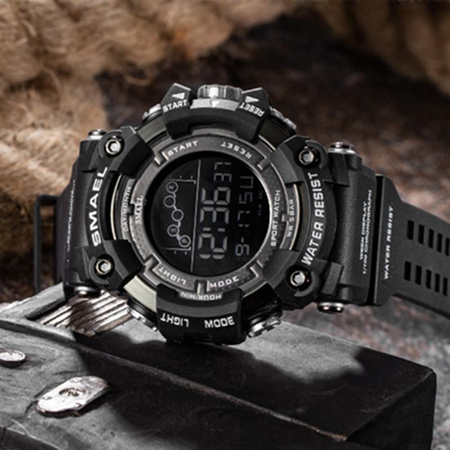 Ceas barbatesc Smael, Shock resistant, Digital, Militar, Sport, Army, Dual Time, Cronograf 2