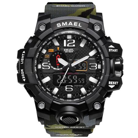 Ceas Barbatesc Smael, Shock resistant, Militar, Army, Camuflaj, Sport, Dual time, Cronometru, Alarma, Rezistent la apa [0]