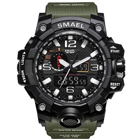 Ceas Barbatesc Smael, Shock resistant, Militar, Army, Sport, Dual time, Cronometru, Alarma, Rezistent la apa 1