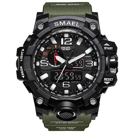 Ceas Barbatesc Smael, Shock resistant, Militar, Army, Sport, Dual time, Cronometru, Alarma, Rezistent la apa 0