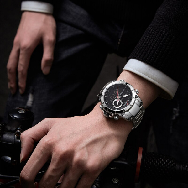 Ceas barbati elegant, Naviforce, Cronograf, Top Brand, Luxury, Quartz, Dual-time 2