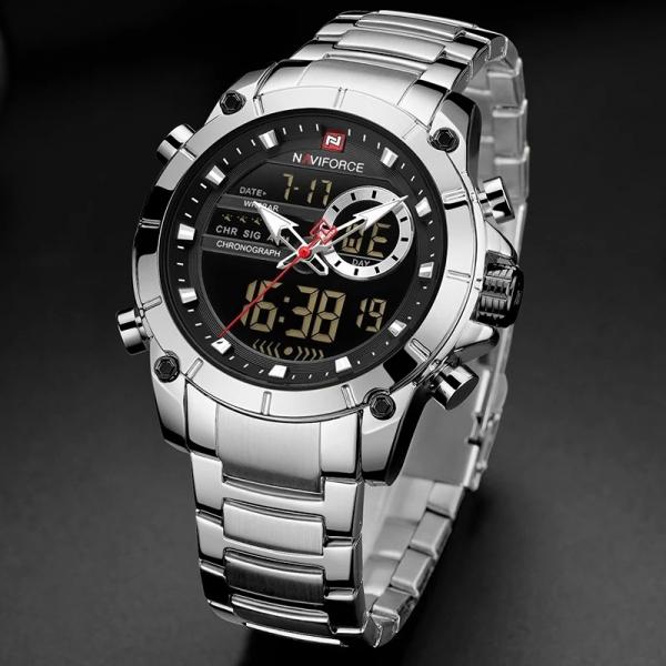 Ceas barbati elegant, Naviforce, Cronograf, Top Brand, Luxury, Quartz, Dual-time 1