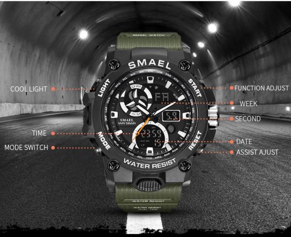 Ceas barbati Smael 8011, Army, Digital, Cronograf, Sport, Militar 6